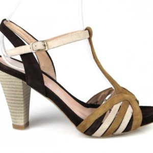 sandalias marrones multicolor.u634