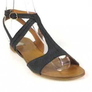 sandalia negra plana . o761