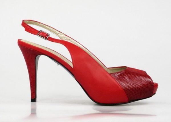 peep toe rojo destalonado .o876