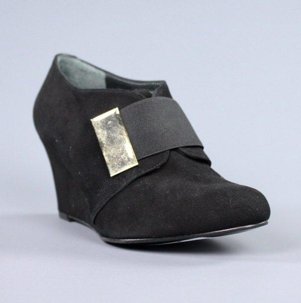 Zapatos de cuña ante negro .u819