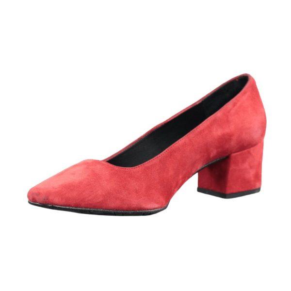 Zapato rojo tacón cuadrado.t038xal