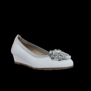 Zapatos mujer baratos blancos de cuña
